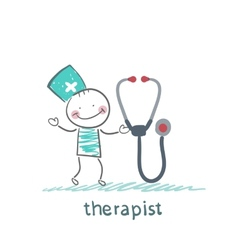 Therapist with tetoskopom vector