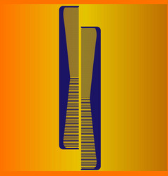 Two blue comb on a yellow background vector