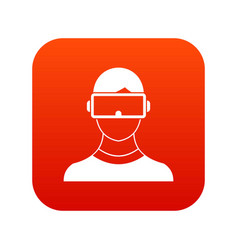 Virtual 3d reality goggles icon digital red vector