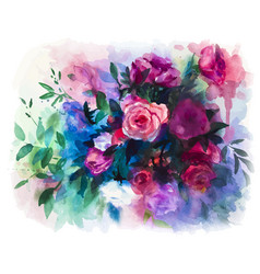 watercolors rose bouquet vector image