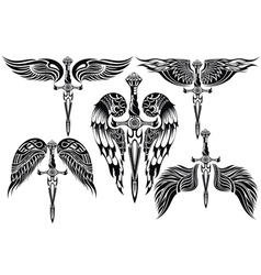 Wings and Sword big set vector image vector image
