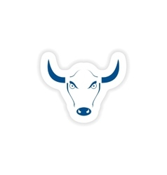 paper sticker on white background Bull logo vector image