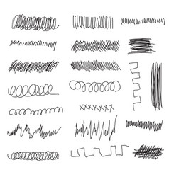 Scribble brush strokes set vector
