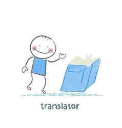 translator reads a book vector image
