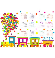 2017 calendar with cartoon train for kids vector
