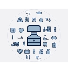 Flat medical icons set health care elements vector
