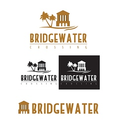 A logo icon of a bridge over water vector