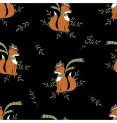 Funny foxy with scarf pattern vector