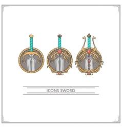 Icons Fantasy Sword vector image