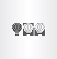 Air balloon black icon set vector