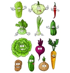 Happy fresh cartoon vegetables characters vector