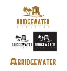 A logo icon of a bridge over water vector
