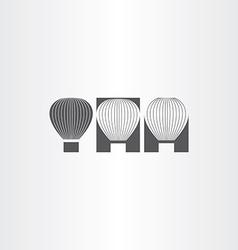 Air balloon black icon set vector