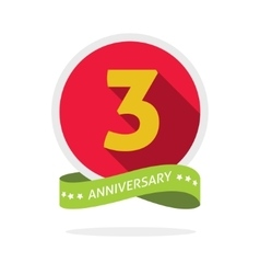 Anniversary 3rd logo template with a shadow on red vector