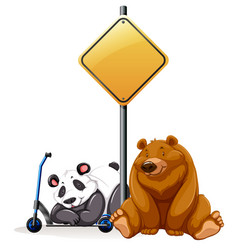 Bear and panda under the yellow sign vector