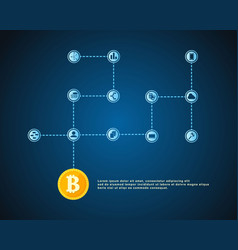 Block chain on blue background vector
