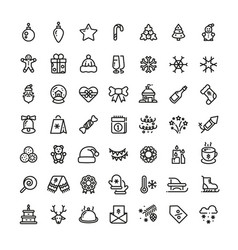 christmas and new year line icons xmas vector image vector image