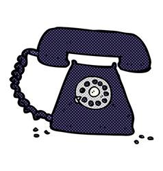 Comic cartoon retro telephone vector