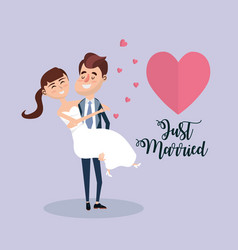 Couple married with hearts and romantic vector