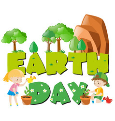 earth day theme with children and trees vector image