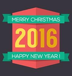 Flat Design 2016 New Year Badge vector image