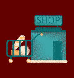 flat icon in shading style shop cart with food vector image vector image