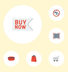Flat icons trolley support buy now and other vector