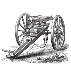 Galting gun vintage engraving vector image