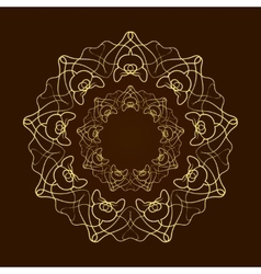 Hand drawn gold flower mandala over dark brown vector image