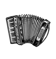 Hand-drawn vintage accordion bayan music vector
