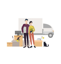 happy young couple moving into a new house with vector image