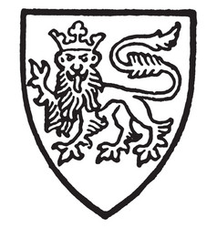 Lisle bore gules a leopard silver crowned gold vector