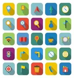 Map color icons with long shadow vector image
