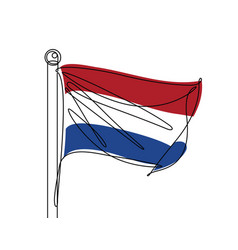 netherlands flag continuous line vector image vector image