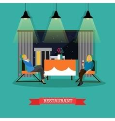 Restaurant design element with women vector