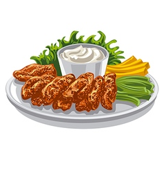 roasted chicken wings vector image