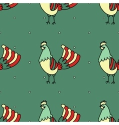 Seamless pattern with rooster vector