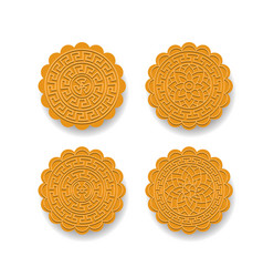 Set of chinese moon cake on white top view vector