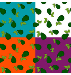 Set of seamless patterns with avocado vector