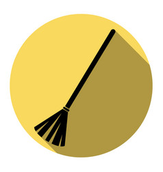 Sweeping broom sign flat black icon with vector