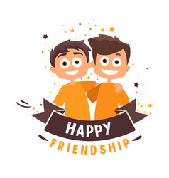 two friends are hugging happy people vector image