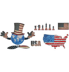 Usa flag elements collection vector
