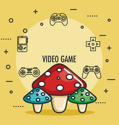 Video game mushrooms entertaining element play vector