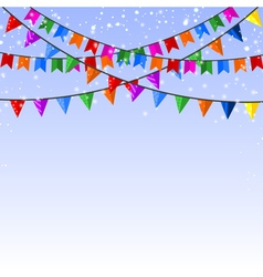 Winter blue background with garland of paper flags vector image vector image