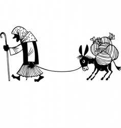 woman and donkey vector image