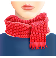 Woman knitted red scarf ad print vector