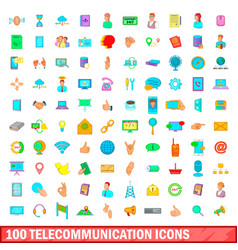 100 telecommunication icons set cartoon style vector