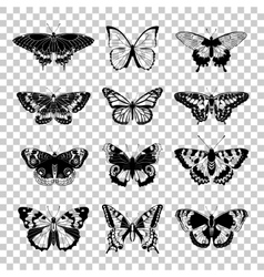 Set of butterflies silhouettes vector