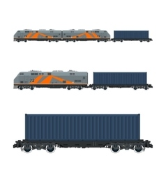 Locomotive with container on railroad platform vector