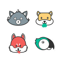 Pet icons cute cartoon cat dog hamster and vector